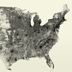 An unusual map of The United States made of only individual road segments by Ben Fry.