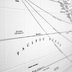 'Chartis Grapein' Letterpressed Typographic World Map by Nancy McCabe.