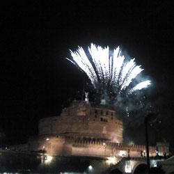 La Girandola, ancient fireworks at Castel Sant' Angelo in Rome.