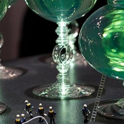 "Marcel Wanders recently completed a collection of crystal glasses and vases for Baccarat entitled ""United Crystal Wood"" that was on display during Design Week in Zona Tortona."