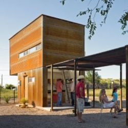 The Marfa 10 x 10 Lightbox is a minimal dwelling retreat consisting of a mere 320 sq. ft.  All it needs now is a stock water tank for a pool. Designed by Candid Rogers Architect.