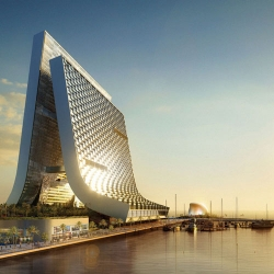 The Marina+Beach Tower in UAE by OPPENHEIM is a high rise mix-use building that on self-sustainability and an embrace of the natural resources.