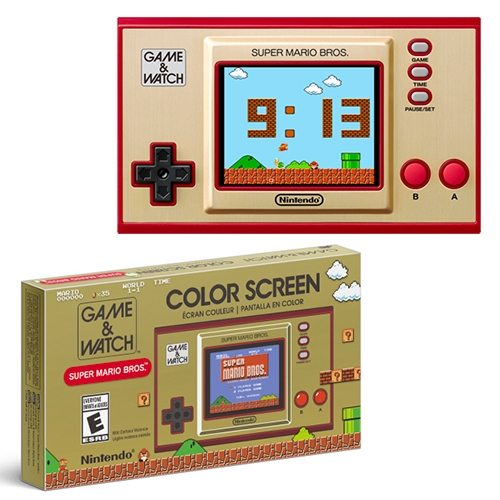 Nintendo updates the nostalgic 1980 Game & Watch for a special edition that includes the original Super Mario Bros. game, a digital clock, and Ball game. For digital clock mode, 1 of 35 different animations may play!