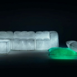 Glowing Inflatable Furniture Made of Recycled Materials, from the Milan Furniture Fair.