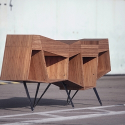 "The essence of team-work and the fundamental quality of friendship are the inspiration in form, construction and name for designer Mark Bendow´s sideboard ""Friends""."