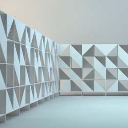 Mark, a modernistic white bookcase system, by Dima Loginoff.