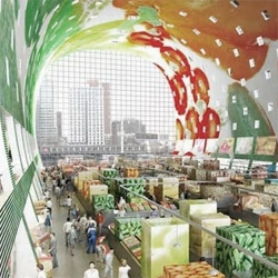 An innovative project for an open market in Rotterdam, covered by an arc of residences. Designed by MVRDV, the inner face of the arc has LED lighting for an ever changing interior.