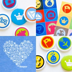 Foursquare goes badge swag happy with buttons, stickers, tshirts and more....