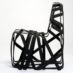 These straps are melted in form with intensive heat. This allows the swiss designer Markus Bangerter to create such light but very powerful structures like in this gorgeous chair.