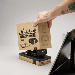 Amp and speaker cabinet manufacturer Marshall will soon be releasing headphones. Gorgeous packaging!