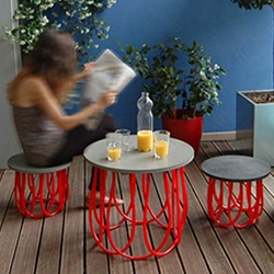 Marta, a sustainable coffee table and stool created by Italian designers Giuseppe Vinci and Pasquale Onofrio.