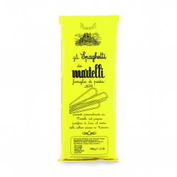 Martelli has been making pasta in the small city of Lari, Tuscany since 1926. The pasta is of high quality and so is their packaging, designed by a family member over 20 years ago.