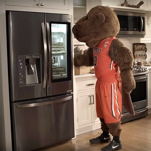 LG NCAA March Madness Mascot Ads. 'Mascots Knock' LG InstaView Door-in-Door Refrigerators and 'Messy Mascots' LG SideKick and LG TWINWash.