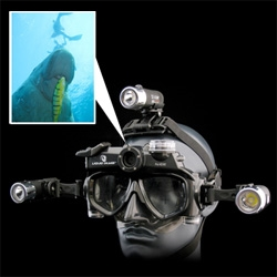Wow. So Liquid Image has stepped up their line of diving masks with built in cameras ~ the top of the line ProHD350 model is good up to 100m/330ft, shoots stills at 5mgp and HD 720p video with audio! And it's sleek and black!