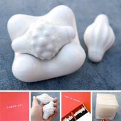 JimmyJane's new Contour Q porcelain massage stone set... and it combines nicely with the Contour M as well... see closeups as well as a peek at some of their cheeky packaging...