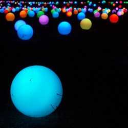 10.000 changing-color light globes at the Circo Massimo in Rome for the Notte Bianca. A wonderful view, night and day.