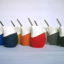 """Unidireccional """"mate"""" of ceramic with neoprene cover by Pulso (Argentina). Mate is the name of a kind of beverage which is commonly drunk in Argentina."""