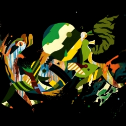 Frenetic paintings and installations by Tomokazu Matsuyama.