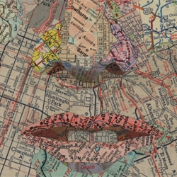 Matthew Cusick makes collages from maps.