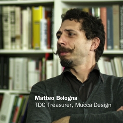 "Matteo Bologna from Mucca Design and designer Roberto de Vicq de Cumptich discuss being ""Type Snobs"" in a promo video for the Type Directors Club."
