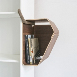 Matthias Ries' Plus One is a storage container for any kind of regular shelf. Its sophisticatedly bent plywood in a simple U-shaped tube which can be attached to a shelf.