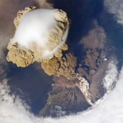 Amazing photographs from the International Space Station of Sarychev Peak on Matua Island erupting. The cloud shows the impact of the initial eruption hitting the atmosphere and creating that mushroom effect.
