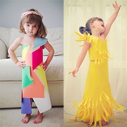 Fashion by Mayhem (4yo) ~ amazing construction paper + glue + tape dresses and more.