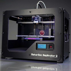 Makerbot introduces the Replicator 2 with a new powder coated black steel chasis, higher resolution, bigger build volume and new software.