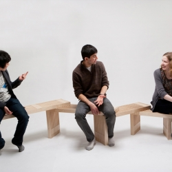The 'matryoshka bench' developed by Jaewoo Chon + Antariksh Tandon explores the possibilities for furniture to shape and respond to the social interaction of its users.