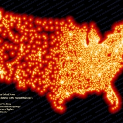 This map of the USA showing where McDonalds are, they are almost everywhere! McDonald's cluster at the population centers and hug the highway grid.