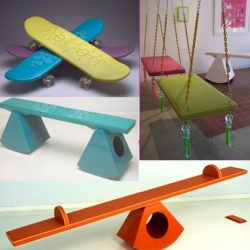 Didi Dunphy's Products for Modern Convenience is like bringng a hip playground into your home. See saws, swings, indoor skateboards and more are fun and functional.