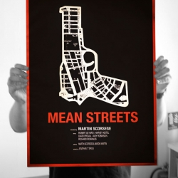 Alternative Mean Streets movie poster for sale, 2 color screen print. Limited to just 50 copies and each signed by the artist Raid71. Print by the amazing Mat Daly.
