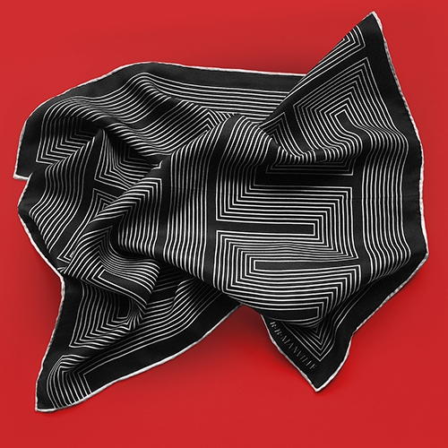 "R.B.Manville - The ""Meandros"" pocket square is pure silk and pure chic."