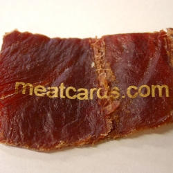MEATCARDS! Raw meat business cards - have your details seared onto steak