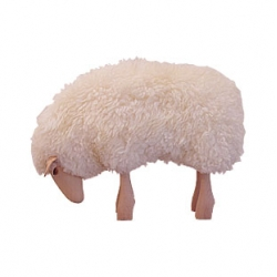 Sheep stool - designer: - Hanns-Peter Krafft, 1982 -  materials: Real sheep-skin over a body of jute skin filled with wood shavings, with head and legs in solid wood. Ears are made of leather.
