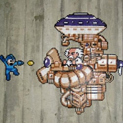 A Mega Man installation made for a student dorm.