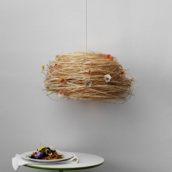 'Bird's Nest' handmade lamp, inspired by Japanese culture with the blend of modern European style. By Megumi Ito.