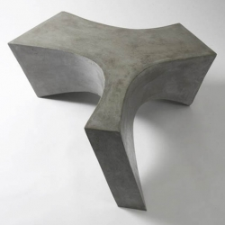 austrian designer daniel meise creates this sculptural pieces of furniture by using a special strong plastic concrete