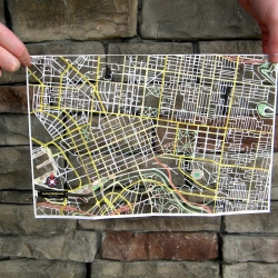 hand cut map of melbourne, by north carolina artist, karen o'leary.  hand cut maps of philadelphia, chicago, san francisco and dublin are also available!