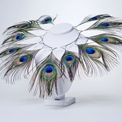 Melody Wolf is a metalsmith in Northside, a community in Cincinnati, and owner and operator of Olive Branch metals.  The piece includes sterling silver and peacock feathers arranged in a dramatic runway necklace