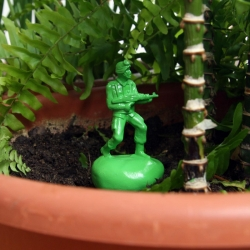 Memeo is a company of soldiers ready to water your plants.  Remember how important the green plastic soldiers were in your childhood ~ now hidden in your garden to water your plants. Design by Jordi Rabal