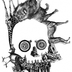 #375 Menagerie Skull from the Skull-A-Day project by Noah Scalin. Made from arranged Victorian illustrations.