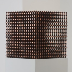Robert Wechsler's The Mendicant is a cube made of 26,982 pennies notched and joined into a lattice. On view at NADA in Miami and International Art Objects Galleries in Los Angeles.