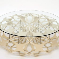 Second in the series of Mensa tables. The coffee table is constructed using birch plywood modules with stainless steel rods to add to the structure and rigidity. The coffee table was derived from the use of computer modelling. Birch Plywood, Stainless steel rod, wingnuts and Hardened Glass.