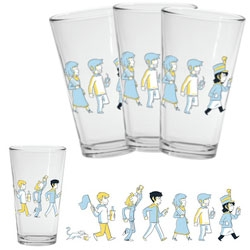 We need more artwork on pint glasses! Here is the adorable Paper Bag Parade one from Octopus Pie
