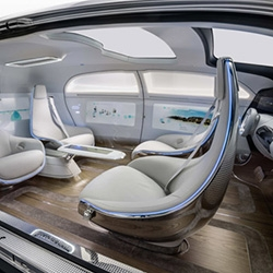 Mercedes-Benz F 015 Luxury In Motion Research Vehicle - a preview of how the self-driving car of the future could become a platform for communication and interaction.