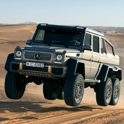 Mercedes-Benz unveils the G63 AMG 6x6. With the 544 horsepower going to all 6 wheels, nearly 16in ride height, and massive tires it can drive through 40in of water.