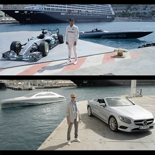 """Speed & Style: Racing Performance Meets Modern Luxury in Monaco"" MERCEDES AMG PETRONAS F1, Nico Rosberg and Lewis Hamilton in the Cigarette Racing 50 Marauder AMG Monaco Concept vs ARROW460 – Granturismo yacht."