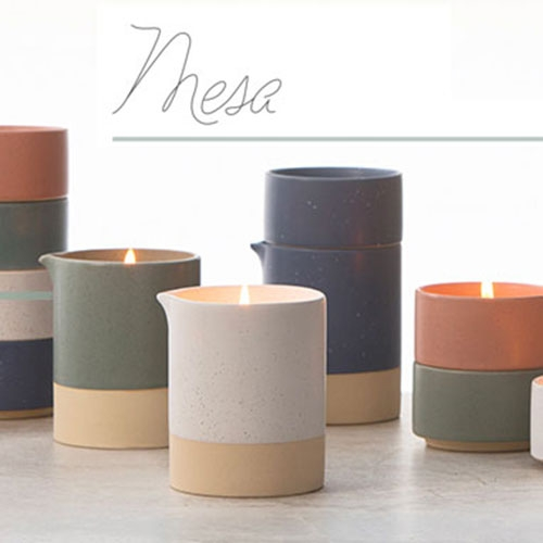 Paddywax Mesa Candles - once burned off, the stackable vessels double as a cream & sugar set! (Or you can get creative with filling the colorful totem pole of matte speckled ceramic vessels.)
