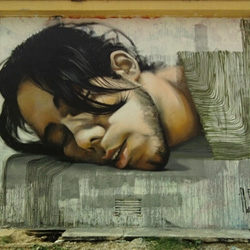 Mesa is a Spanish street artist with hyper-realistic style.